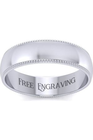 SuperJeweler Platinum 5MM Comfort Fit Milgrain Ladies & Men's Wedding Band, Size 6.5, Free Engraving