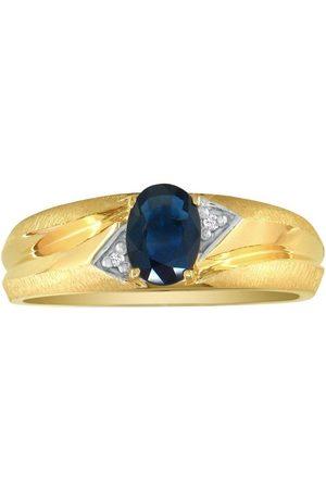 SuperJeweler Dual Texture 10k (2.8 g) 1 Carat Oval Sapphire & Diamond Men's Ring, I/J