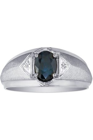 SuperJeweler Men's Sapphire & Diamond Ring in 10k (2.8 g), I/J