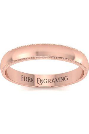 SuperJeweler Men Rings - 10K Rose (1.7 g) 3MM Milgrain Ladies & Men's Wedding Band, Size 7, Free Engraving