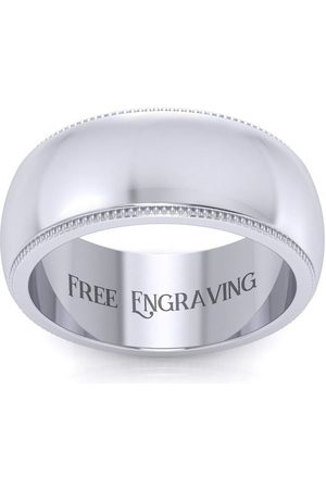 SuperJeweler Platinum 8MM Comfort Fit Milgrain Ladies & Men's Wedding Band, Size 13.5, Free Engraving