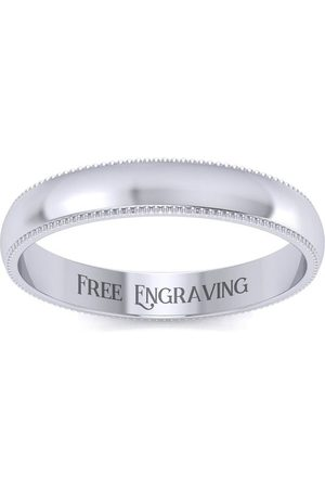 SuperJeweler Platinum 3MM Milgrain Ladies & Men's Wedding Band, Size 9, Free Engraving