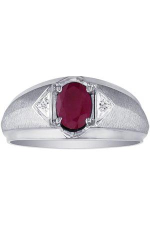 SuperJeweler Men's Ruby & Diamond Ring in 10k (2.8 g), I/J