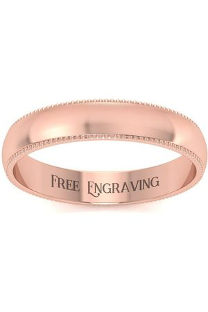 SuperJeweler 18K Rose (2.7 g) 4MM Milgrain Ladies & Men's Wedding Band, Size 4.5, Free Engraving
