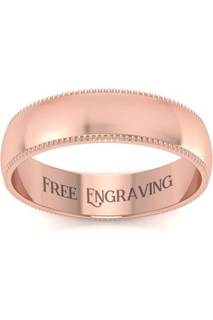 SuperJeweler 14K Rose (3.1 g) 5MM Milgrain Ladies & Men's Wedding Band, Size 6, Free Engraving