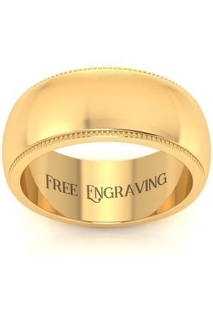 SuperJeweler 14K (6.1 g) 8MM Milgrain Ladies & Men's Wedding Band, Size 9, Free Engraving