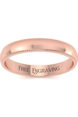 SuperJeweler 14K Rose (3.5 g) 3MM Heavy Comfort Fit Milgrain Ladies & Men's Wedding Band, Size 4, Free Engraving
