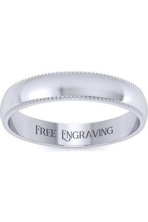 SuperJeweler Platinum 4MM Heavy Comfort Fit Milgrain Ladies & Men's Wedding Band, Size 9, Free Engraving