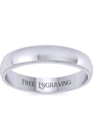 SuperJeweler Platinum 4MM Heavy Comfort Fit Milgrain Ladies & Men's Wedding Band, Size 3.5, Free Engraving