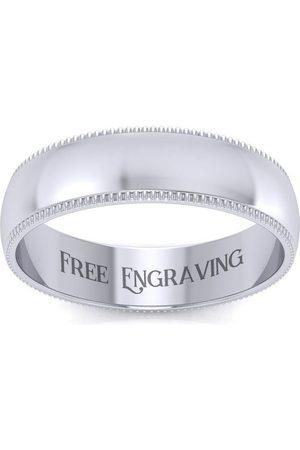 SuperJeweler Platinum 5MM Heavy Comfort Fit Milgrain Ladies & Men's Wedding Band, Size 6.5, Free Engraving