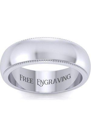 SuperJeweler Platinum 6MM Heavy Comfort Fit Milgrain Ladies & Men's Wedding Band, Size 4, Free Engraving