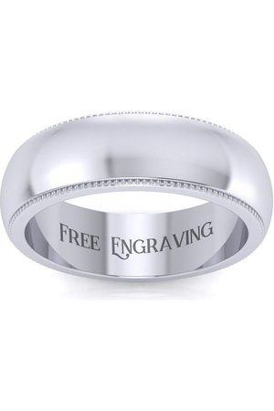 SuperJeweler Platinum 6MM Heavy Comfort Fit Milgrain Ladies & Men's Wedding Band, Size 14, Free Engraving