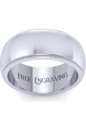 SuperJeweler Platinum 8MM Heavy Comfort Fit Milgrain Ladies & Men's Wedding Band, Size 4, Free Engraving