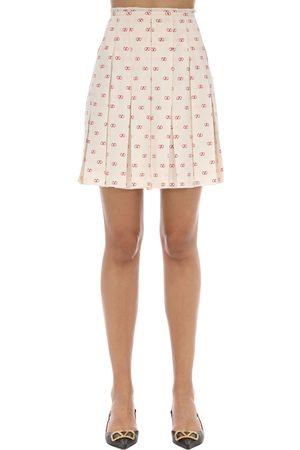VALENTINO Women Pleated Skirts - Vlogo Pleated Silk Crepe De Chine Skirt