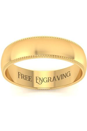 SuperJeweler 18K (5.8 g) 5MM Heavy Milgrain Ladies & Men's Wedding Band, Size 7, Free Engraving