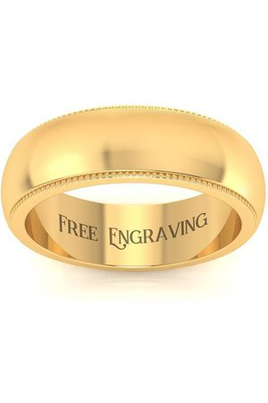 SuperJeweler 14K (6.1 g) 6MM Heavy Milgrain Ladies & Men's Wedding Band, Size 7.5, Free Engraving