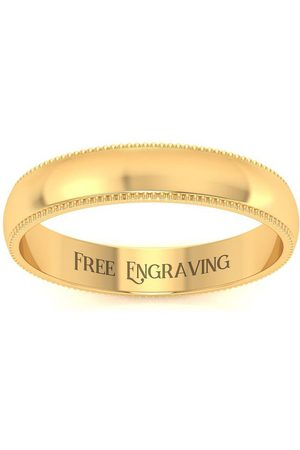 SuperJeweler 18K (4.2 g) 4MM Heavy Milgrain Ladies & Men's Wedding Band, Size 7, Free Engraving