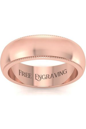 SuperJeweler 14K Rose (5.3 g) 6MM Heavy Milgrain Ladies & Men's Wedding Band, Size 4, Free Engraving