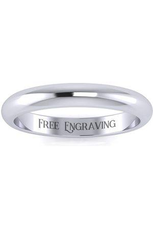 SuperJeweler 925 Sterling 3MM Ladies & Men's Wedding Band, Free Engraving, Size 10