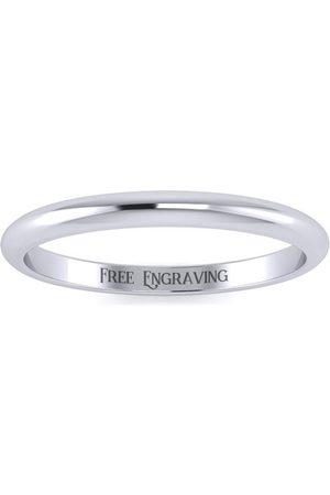 SuperJeweler 925 Sterling 2MM Ladies & Men's Wedding Band, Free Engraving, Size 10
