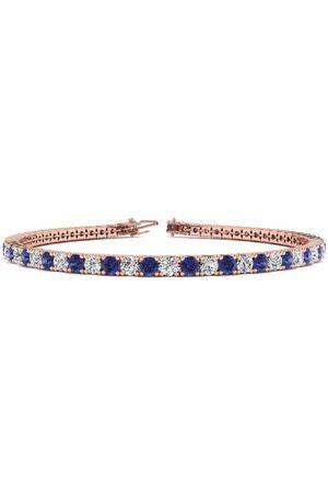 SuperJeweler 6 Inch 4 Carat Tanzanite & Diamond Tennis Bracelet in 14K Rose (8.1 g), J/K