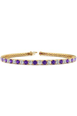 0.33 cttw Round-Cut-Diamond 18K Yellow Gold 7 inches IJ  SI bangle-bracelets Size