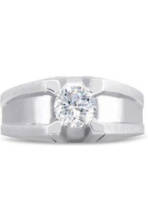 SuperJeweler Men's 1/2 Carat 1 Diamond Wedding Band in 10K , I-J-K, I1-I2, 10.37mm Wide, Size 10