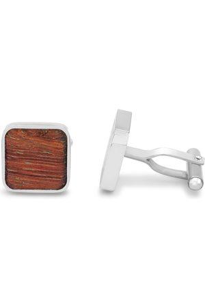 Octavius Stainless Steel & Mahogany Square Cufflinks