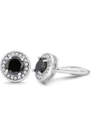 Octavius Stainless Steel Black Onyx & Crystal Cufflinks