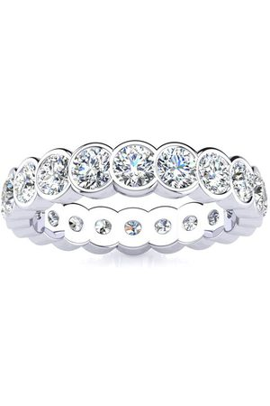 SuperJeweler 2 Carat Overlapping Bezel Set Diamond Eternity Wedding Band in 14k , I/J