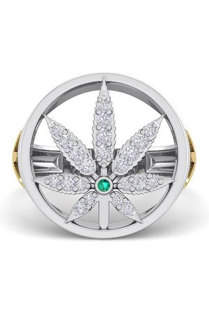 SuperJeweler Men's 1/3 Carat Diamond & Emerald Cut Weed Leaf Ring in 14K (9 g), H-I, Size 7