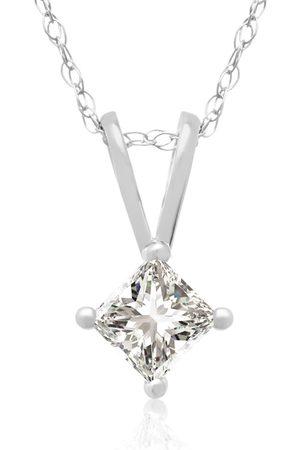 Hansa 1/4 Carat 14k Princess Cut Diamond Pendant Necklace, H/I, 18 Inch Chain by