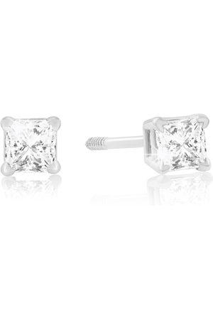 Hansa 1/4 Carat Princess Cut Diamond Stud Earrings in 14k , G/H, SI by