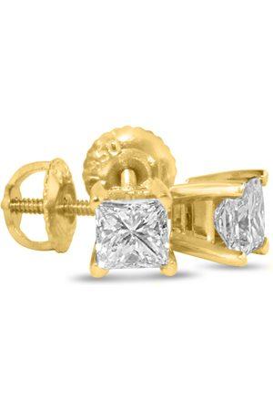 Hansa 1.25 Carat Princess Cut Diamond Stud Earrings in 14k , G/H, SI by