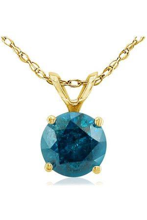 Hansa 1/2 Carat Round Brilliant Cut Blue Diamond Pendant Necklace in 14k (1 g), 18 Inch Chain by
