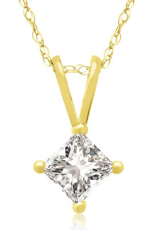 Hansa 3/8 Carat 14k Princess Cut Diamond Pendant Necklace, H/I, 18 Inch Chain by