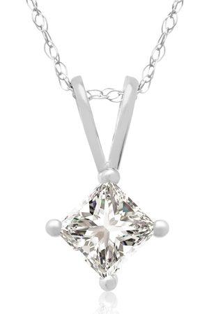 Hansa 3/8 Carat 14k Princess Cut Diamond Pendant Necklace, G/H, 18 Inch Chain by