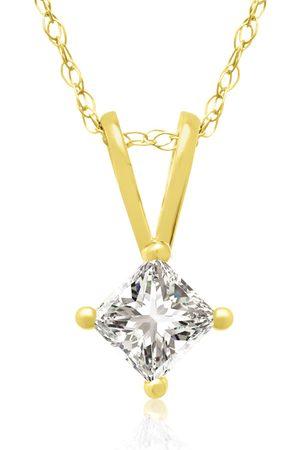 Hansa 1/4 Carat 14k Princess Cut Diamond Pendant Necklace, G/H, 18 Inch Chain by
