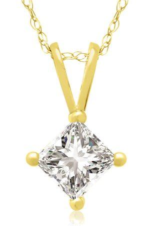 Hansa 1/2 Carat 14k Princess Cut Diamond Pendant Necklace, H/I, 18 Inch Chain by