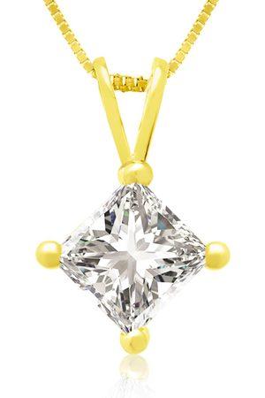 Hansa 3/4 Carat 14k Princess Cut Diamond Pendant Necklace, H/I, 18 Inch Chain by