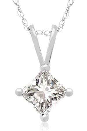 Hansa 1/2 Carat 14k Princess Cut Diamond Pendant Necklace, G/H, 18 Inch Chain by