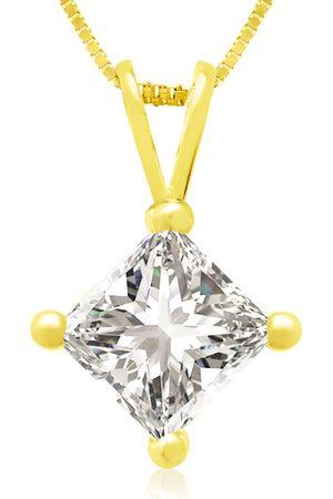 Hansa 1 Carat 14k Princess Cut Diamond Pendant Necklace, H/I, 18 Inch Chain by