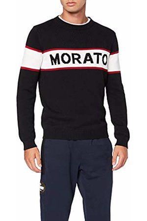 Antony Morato Men's Maglia Girocollo Logo Morato Jacquard Su Fascia Centrale in Contrasto Colore Jumper