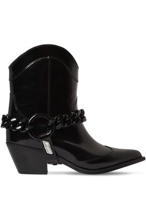 Msgm 60mm Chain Cowboy Leather Ankle Boots