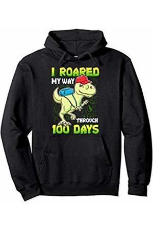 100th Day of School Clothing Kids I Roared My Way Through 100 Days of School Rex Dinosaur Pullover Hoodie