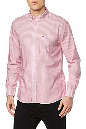 Tommy Hilfiger Men's Slim Fil Stripe Shirt T (Haute /Bright WHITE902)