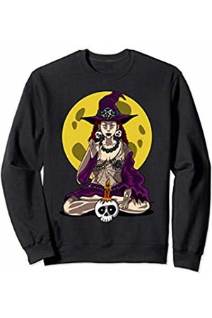 Funny Witch On Broom Shirts Yoga Witch Halloween Zen Meditation Namaste Women Girls Sweatshirt
