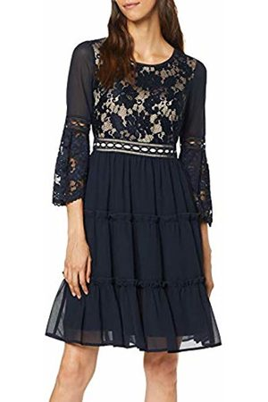 Apart Women's Chiffon Dress with Lace Party, Midnightblue