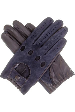 Black Men's Navy Suede and Leather Driving Gloves