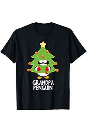 Funny Christmas Tree Penguins Grandpa Christmas Penguin Funny Family Matching Pajamas Top T-Shirt